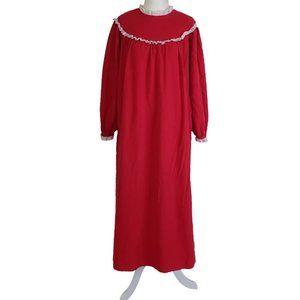 Vtg Flannel Nightgown Red Cotton Sz M Eyelet Trim
